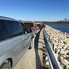 Snowy Owl viewing traffic jam <br /> Between 367 and Ellis Island Road <br /> Riverlands Migratory Bird Sanctuary
