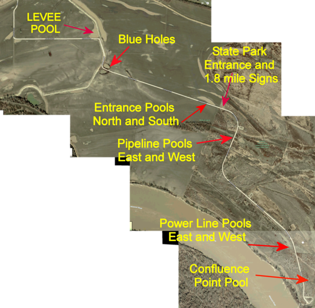 """<span style=""""color:gold; font-size:120%"""">Map of Confluence Point Road showing pools </span> <br> From Riverlands Way it's 4.3 miles to the Confluence Point parking lot. <br><br> <span style=""""color: yellow"""">Levee Pool (private land)</span> - just before going up on levee  <br> - over levee private land with long pool  <br> <span style=""""color: yellow"""">Entrance Pools (private land) </span> - water both sides just before park entrance sign  <br> <span style=""""color: yellow"""">Pipeline Pools </span> - both sides of road. East side extends 2000 ft.  to river levee <br> <span style=""""color: yellow"""">Power Line Pools </span>  - both sides of road <br> <span style=""""color: yellow"""">Confluence Point Pool  </span> -   From the point parking lot it's viewed to the north next to river levee"""