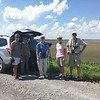 Birders viewing American Flamingo <br /> Viewed from levee on <br /> Donaldson Point Conservation Area