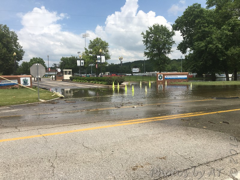 Returned to look the the Painted next day, 6/07/19. <br /> No luck on bird but grabbed flood water shots. <br /> The Meramec River reaching up Soccer Park Road <br /> to the soccer park entrance.