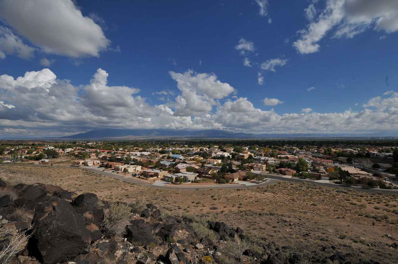 Albuquerque from Boca Negra Canyon, with Sandia Maountain to the east