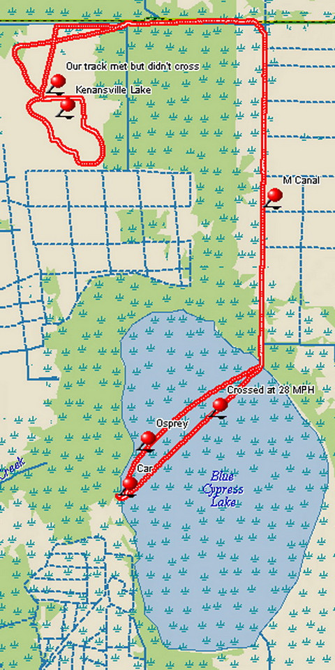"This is a GPS track of our 52-mile airboat ride. We started and ended at the ""Car"" waypoint, which is the location of Middleton's Fish Camp."