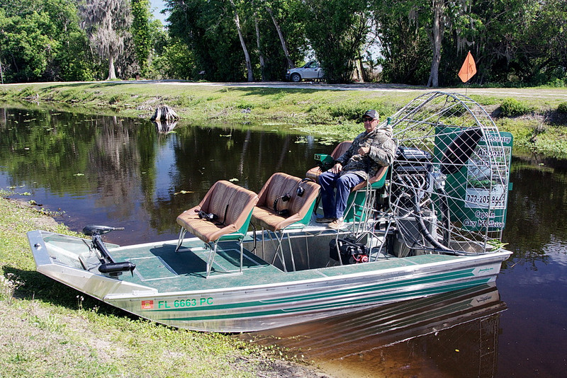 3977 Gary Middleton, of Middleton's Fish Camp in Vero Beach, FL, sits in the airboat he used to take us on our photo shoot of Blue Cypress Lake and Kenansville Lake, the two connected by M Canal.