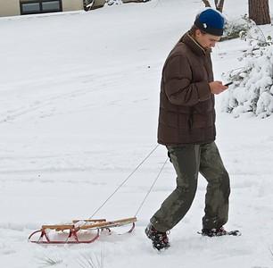 Texting while sledding...