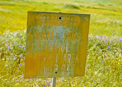 Old bomb range sign, Mather Regional Park, 5-7-14. Cropped image.