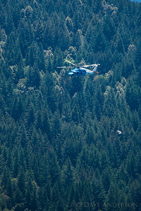 PG&E Helicopter replacing poles in the mountains near home. In this photo the helicopter is returning from a trip to deliver rock for setting new posts.