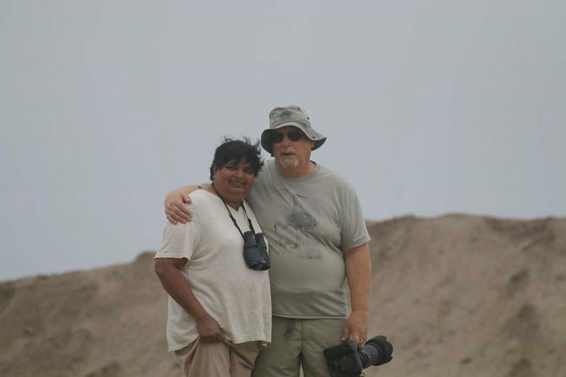 "Sheila and Bruce Craig at Pacific Ocean shore south of Lima, Peru. The photos in this gallery are labelled with the species names of the birds, place and date of photo, and who took the photo (Allyn = our son). For 14 days of July, 2014 while we were in Peru, we photographed 87 ""life"" species plus identified two other species we did not photograph. Some of the photos are of species we've photographed in the US, thus are not ""life"" species for us."