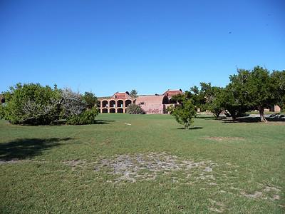 December 2009, Dry Tortugas National Park, Florida, USA  Pöllö oli ruutivarastossa. Ruutivarasto on taustalla näkyvä tiiliholvi.   The owl was in Powder Magazine of Dry Tortugas (The large arch shaped building in the background).
