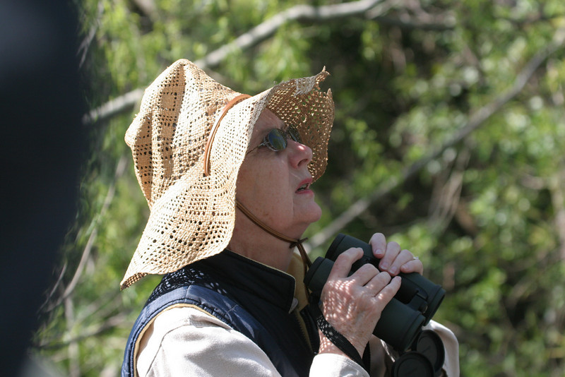 """Younger sister Jane observing the same bird in her """"hand-me-down"""" hat - well worn and well loved!"""
