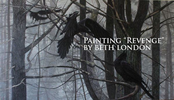Beth London painting Revenge. Raven with wings bent based on photograph by Paul Lantz.