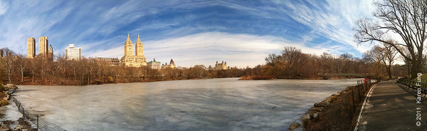 26 February: A seven-frame panorama of the Lake in Central Park, taken handheld with the iPhone 4's camera. The Pano app was used for stitching, and the image was post-processed in Photoshop.  I reduced the final result for web posting.