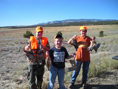 The Hoffman brothers from Orangeville show the chukar partridge they took at the Gordon Creek Wildlife Management Area. A special youth chukar hunt was held on Sept. 6 at Gordon Creek and four other WMAs in Utah.