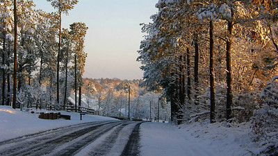 Our street on Saturday morning, Gilbert, South Carolina.