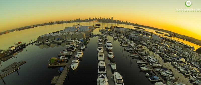 The Creek at sunset.The beautiful Vancouver skyline in the background