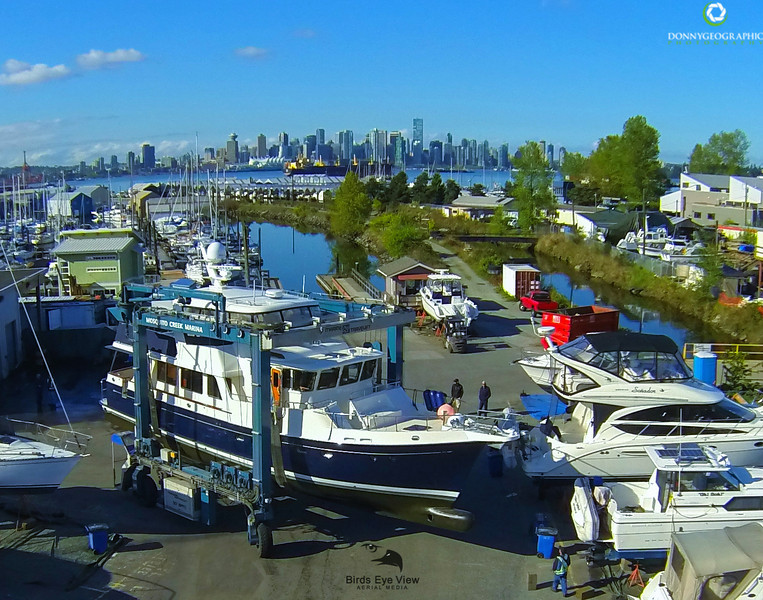 Yacht Lift at the Creek North Vancouver BC Canada