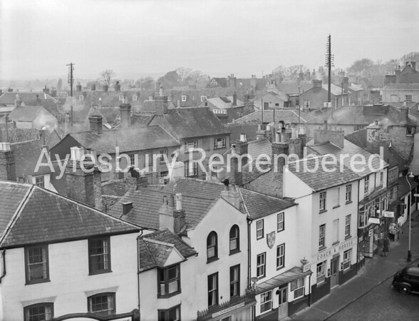 Silver Street and Market Square viewed from County Hall roof, Jan 9th 1950