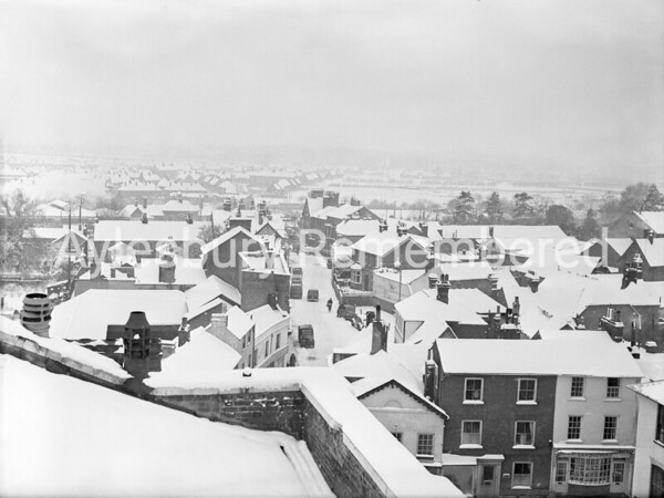 Great Western Street viewed from County Hall roof, Feb 21st 1955