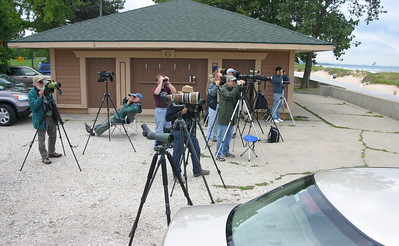 NW Indiana Birders at Marquette Beach Concession Stand.  Aug 29, 2009.  Far left is Pete Grube, 2nd from left in chair is Ken Brock.