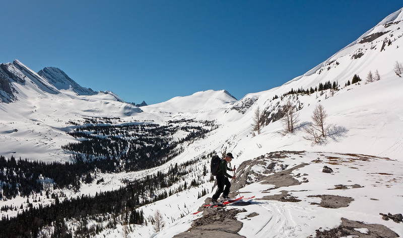 """It will be """"skis off"""" here in another day or so.  South Burstall Pass at left of centre skyline, with the north pass hidden behind the corniced ridge of Snow Peak."""
