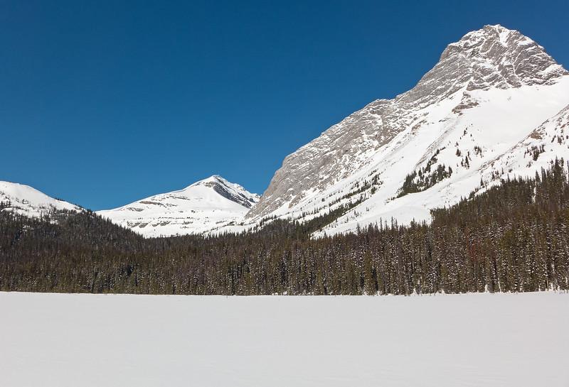 A look ahead to the Birdwood Pass area, hidden from view between Snow Peak and the ridge of Mount Birdwood.