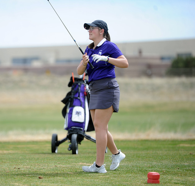 Katie Haag reacts to her drive during the Birleffi Invite at Boomerang Golf Course on Friday, April 5. (Colin Barnard/Loveland Reporter-Herald)