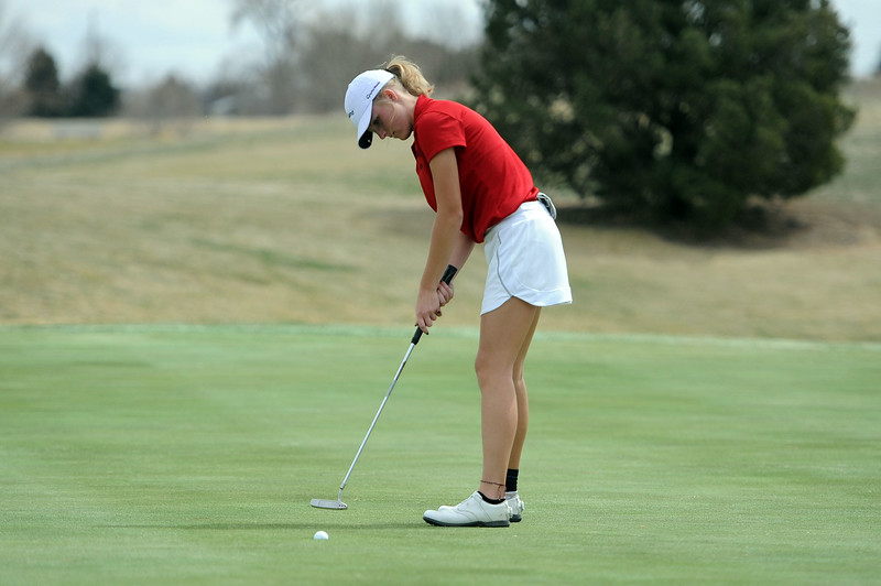 Lauren Lehigh roles in the birdie putt on her last hole to tie for first place during the Birleffi Invite at Boomerang Golf Course on Friday, April 5. Loveland won the team title. (Colin Barnard/Loveland Reporter-Herald)