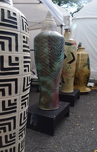 Decorative pottery vessels made by Andrew Otis at the Common Ground Birmingham Street Art Fair on Sunday Sept. 18, 2016.