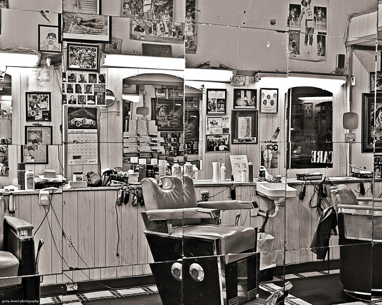 reflections of a barber shop, 2nd Avenue North, Birmingham, AL