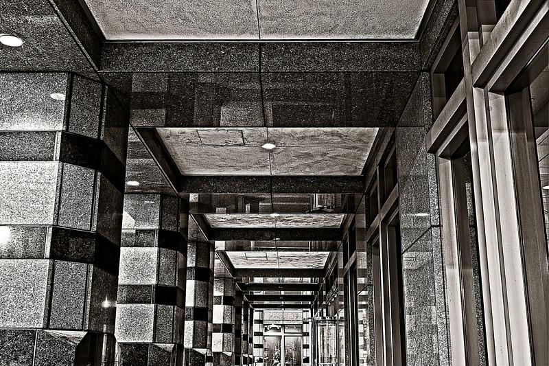 down the corridor of columns, the Harbert Center, Birmingham, Alabama