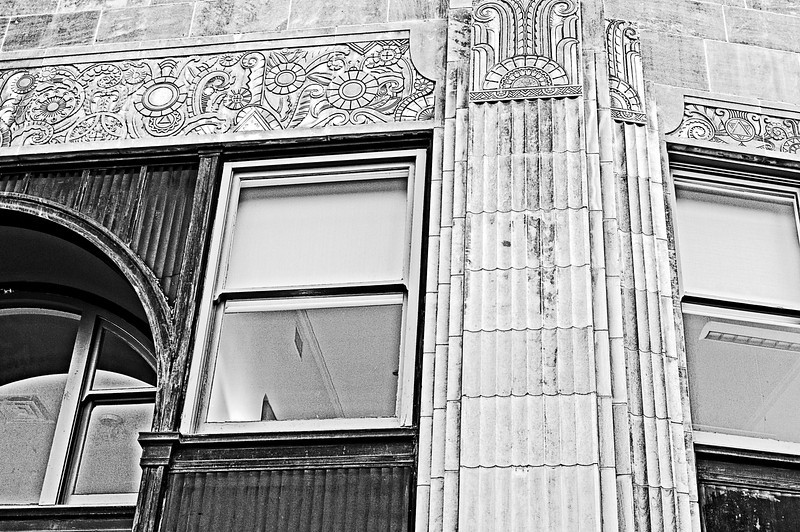 detailed trim work on a corner building in Birmingham, Alabama
