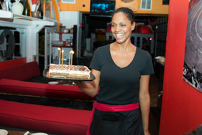 Ana Paula delivers the birthday desert