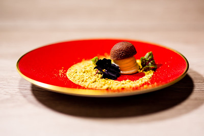 goat cheese mousse | truffle scented chocolate cake | pistachio