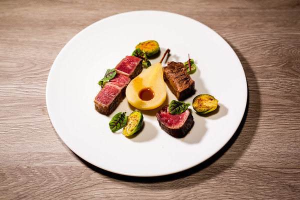 pear | beef tongue vs steak | brussels sprouts | sauce madère