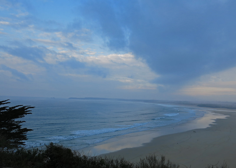 Evening view from the house over Porth Kidney Sands.