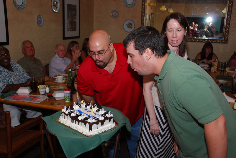 Jon and I blowing out the candles.  Great cake by the way.