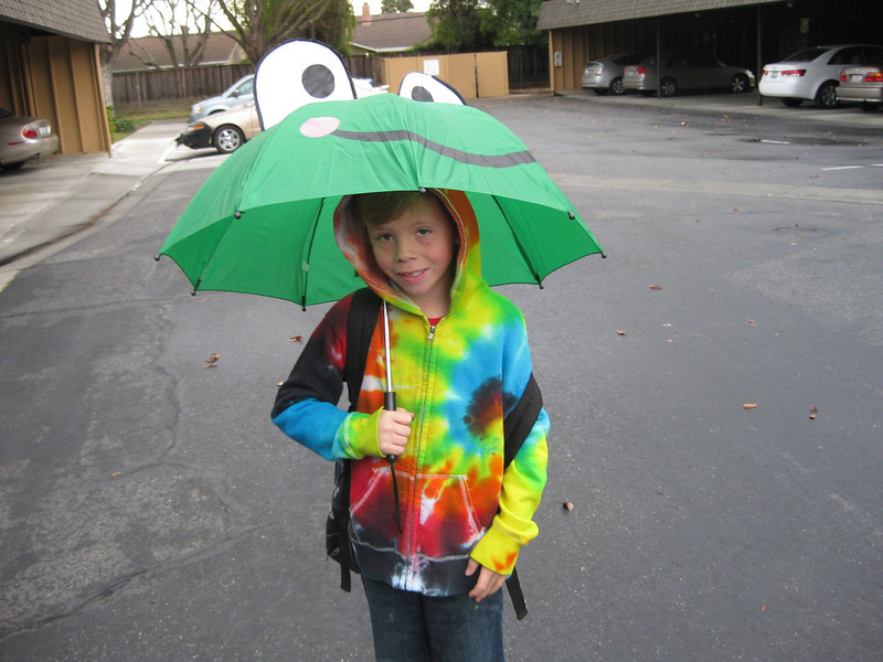 Walking to school on a rainy day (2/7/12)