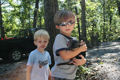 Aiden and Tate with new puppy.