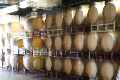 The barrels were blurred after the wine tasting.