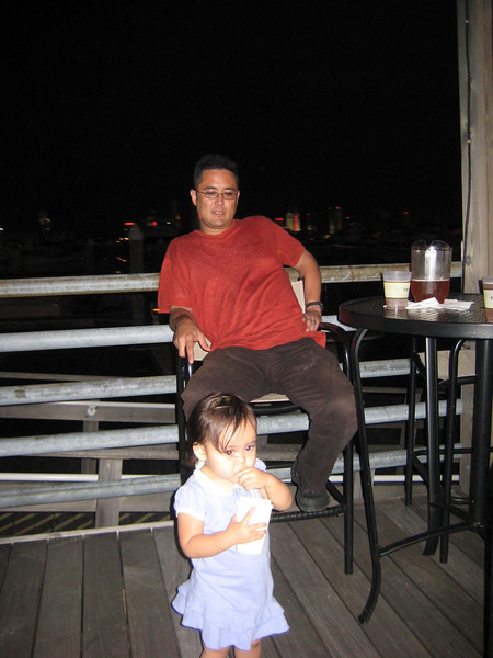 Hangin' out at the deck outside Trump Marina the night before her birthday.