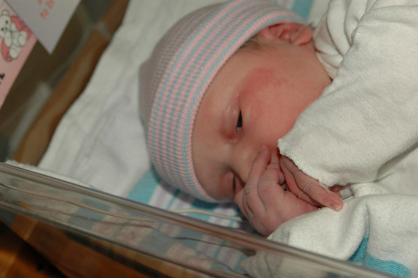 Less than an hour old and the first moments in the nursery...Before going to her room, with Maman...