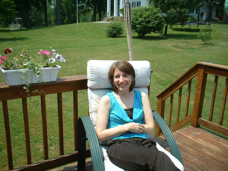 Susan relaxing on the deck with Dad.