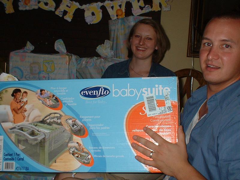 Mom got Baby Boy Clark a portable baby bed.