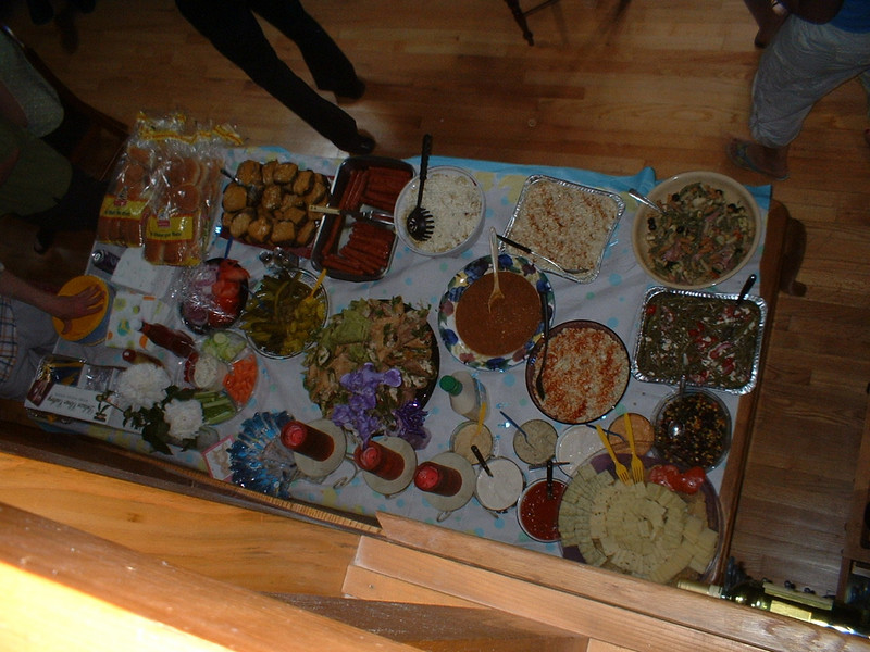 Birdseye view of the INSIDE buffet table.  There was another buffet table outside on the deck.