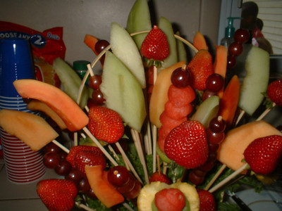 A sister from Chelsea's congregation made this fruit centerpiece.
