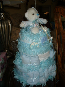 This is one of the baby centerpieces that anchored some of the balloons for the party.