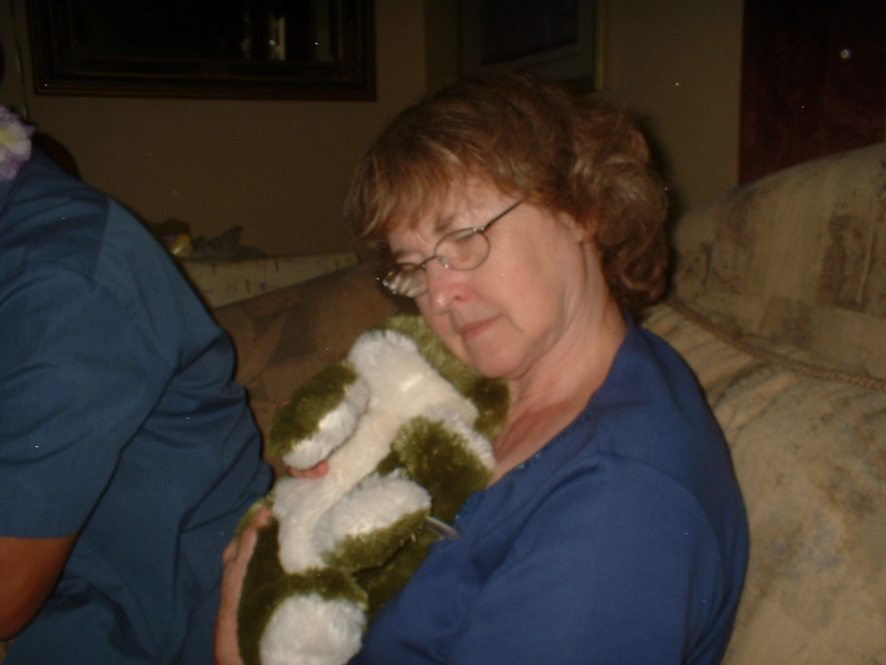Mom cuddling with a frog!