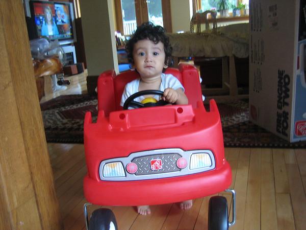 Jaden in his new fire engine