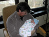 Jonathan Andrew Saulnier, born April 12, 2011, 7:31AM.  First time being held by the delighted dad, Matthew.