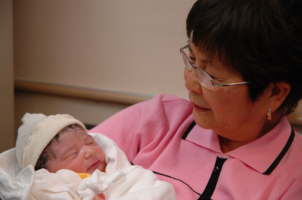 Jaden with Grandma Linda, hours after his birth.