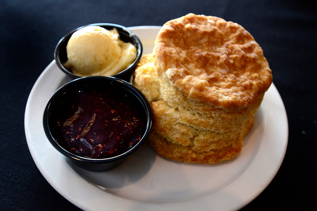 . Buttermilk Biscuit with Honey Butter and Raspberry Preserves Biscuit Bar in Louisville on Wednesday. For more photos go to dailycamera.com  Paul Aiken Staff Photographer May 9 2018
